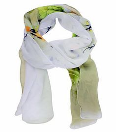 This soft chiffon scarf has large peony floral prints and is suitable for use all year long.  It's trendy and stylish in off-white & hint of green, grey & light orange.