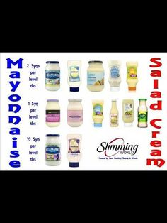 Mayo and salad cream Slimming World Salads, Asda Slimming World, Slimming World Syns List, Slimming Workd, Slimming World Syn Values, Slimming World Recipes Syn Free, Syn Free Snacks, Syn Free Food, Weight Watchers Tips