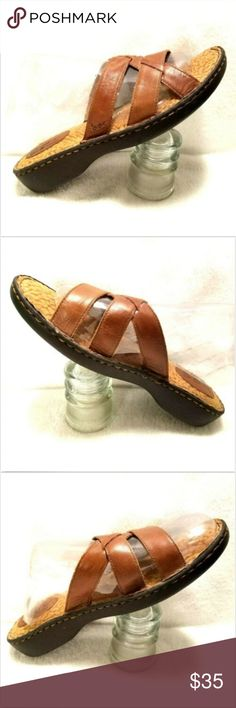 08a6cac1b437 BOC Womens sandals Brown Strappy Slides US sz 10 BOC Womens sandals Brown  Leather Strappy Slides