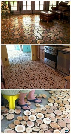 Flooring made from end grain log wafers and sawdust grout for Recycled flooring ideas