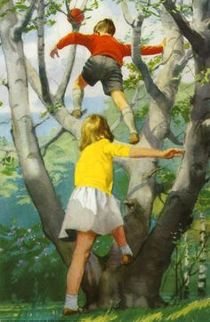 Climbing the tree - Play With Us, Peter And Jane, illustrator J. H. Wingfield, 1964