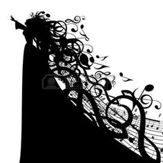 wind band: Silhouette of Woman with Musical Symbols