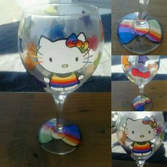 Painted wine glass. Hello Kitty gay pride.