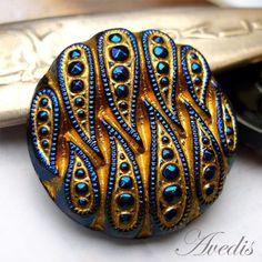 Czech glass buttons  Art deco Blue iris and Gold