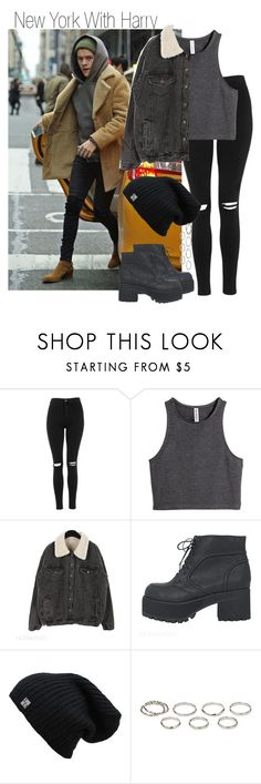 """""""New York With Harry"""" by onedirectiondress ❤ liked on Polyvore featuring Topshop, H&M and Akira"""