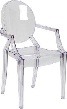 Flash Furniture FH-124-APC-CLR-GG Clear Office Accent Chair