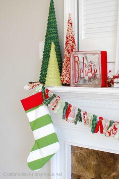Striped Christmas Stockings #craft