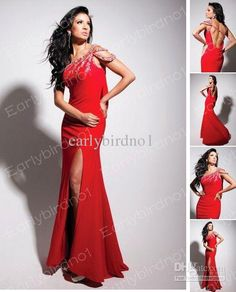 Wholesale Formal Dresses Evening 2013 Sexy One Shoulder Beaded Crystal Satin Slit Backless Red Prom Dresses, Free shipping, $144.48-155.68/Piece | DHgate