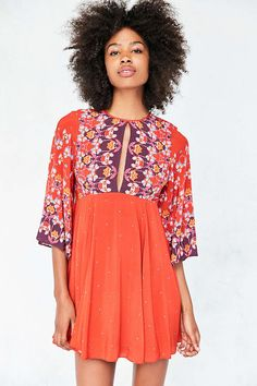 Ecote Tyler Split-Neck Bell-Sleeve Mini Dress - Urban Outfitters