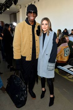 J Alexander and Olivia Palermo attend the front row for Noon by Noor during New York Fashion Week The Shows at Gallery II at Spring Studios on...