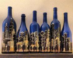 Set of Hand Painted Bottles – Chicago Skyline This is a set of 6 empty glass bottles, varying in size … Empty Glass Bottles, Glass Bottle Crafts, Wine Bottle Art, Painted Wine Bottles, Diy Bottle, Glass Jars, Decorated Bottles, Vodka Bottle, Liquor Bottles