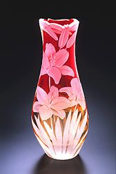 Lillies glass art by Cynthia Myers