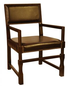 Upstairs Downstairs Furniture - Leather Square Chair,  Width: 20.00 Height: 36.00 Depth: 23.00  * Choose a Style:      Side Chair,     Arm Chair  * Choose a Finish:      Black,     Distressed Brown