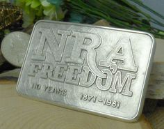 Sterling Silver NRA Freedom '110 Year Anniversary' Belt Buckle; 1871-1981!!