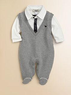 Fancy - Armani Junior - Infant's Polo Footie - Saks.com