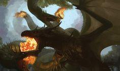 Dragon vs Hydra by PACkO-MX.deviantart.com on @DeviantArt
