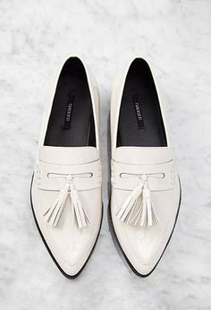 You're Going to Want EVERYTHING From Forever 21s Minimalist Section - White Pointed Faux Patent Flatform Loafers, $29.90