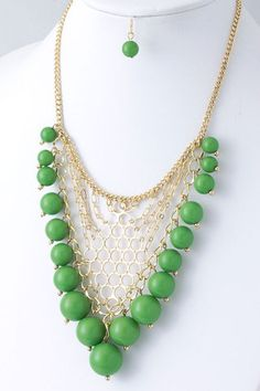 Gum Drop Necklace & Earring Set $32. Free Shipping!