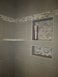 """The recessed shelves are exactly what I want with the living wall """"garden"""" hanging above them in the shower. See site for another version I also li…"""