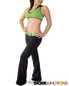Brazilian Workout Wear: Wide Belt Pants and Hood Bra Top with Back Detail Set Very nice set of bra top with black mesh hood and Supplex ® pants with matching belt. Only at www.SickkJunctions.com