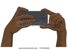 Vector black afro hands taking photo with smartphone, Illustration in colored sketch style isolated on white background