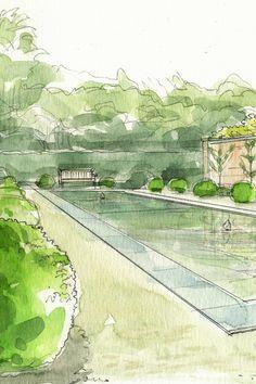 Garden design - aquarelle - jardin - eau