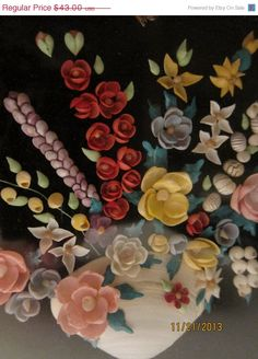 Vintage Seashell Collage, Hand-painted Shells