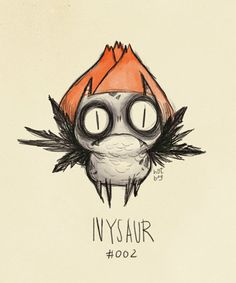 Pokemon drawn in the style of Tim Burton characters - Ivysaur