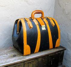 Vintage Black and Tan Hard Sided Leather Doctors Bag