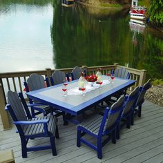 Amish Poly Daisy 9pc Dining Set - all-weather poly material in vibrant colors!  Rolled seat edge for maximum comfort and ships fully assembled!