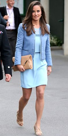 PIPPA MIDDLETON Avid tennis fan Middleton cheered from the sidelines at Wimbledon wearing a powder blue dress and periwinkle blue coat, both by Sandro, with neutral accessories.