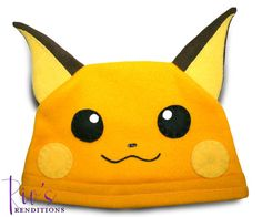 $30.00 - Pokemon Raichu Hat by riomccarthy on Etsy  Handmade fleece hat designed and sewn by Rio McCarthy to resemble Raichu from Pokémon for the 20th anniversary. #Pokemon20 #RiosRenditions #fleecehat #shopping