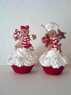 Cupcake Christmas, Gingerbread Christmas Decor, Candy Land Christmas, Christmas Cupcakes Decoration, Gingerbread Decorations, Gingerbread Ornaments, Christmas Kitchen, Gingerbread Man, Christmas Baking