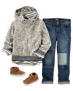 He'll make the grade in a chambray striped oxford, hooded sweater and high-tops. Rip-&-Repair jeans complete this textured, too-cool-for-school look.