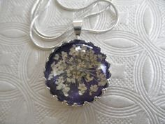 Queen Anne's Lace Pendant Beneath Glass Atop by giftforallseasons