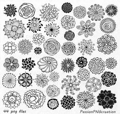 BIG SET 44 Hand Drawn Flowers clipart flower by PassionPNGcreation