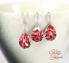 Carrie  Swarovski Crystal Teardrop Earrings by GlitzAndLove