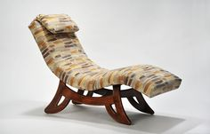 Paint Strokes Chaise Lounge. Molded plywood with multilayer urethane, fire retardant foam. Exposed wood base is solid American walnut with hardwood doweled construction and finished with hand rubbed, multi layer coated lacquer.  Upholstery for this piece is a multicolored woven polyester/rayon blend with a paint strokes pattern and comes with an adjustable head rest. Paint Strokes, American Walnut, Exposed Wood, Outdoor Furniture, Outdoor Decor, Plywood, Sun Lounger, Hardwood, Upholstery