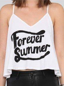 White V-neck FOREVER SUMMER Print Camisole