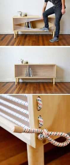 Chilean designer Emmanuel Gonzalez Guzman, has designed and made Cuerda. Inspired by the ropes of a boxing ring. Designer Emmanuel Gonzalez Guzman, has designed Cuerda, a wooden sideboard that was inspired by the ropes of a boxing ring. Decorating Your Home, Diy Home Decor, Decorating Tips, Diy Furniture, Furniture Design, Furniture Plans, Plywood Furniture, Furniture Makeover, Furniture Storage