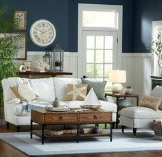 Coastal Living Room Inspiration from Birch Lane: http://www.completely-coastal.com/2016/03/coastal-decor-birch-lane.html Blue and white, wood and a little black. Very nice!