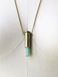 Terquoise Onyx Bullet Casing Necklace by BlackSparrowJewelry, $24.00