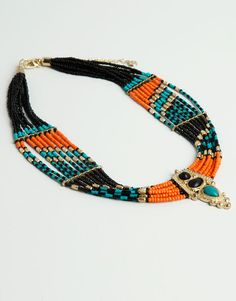 :BEAD NECKLACE WITH HINDU PENDANT