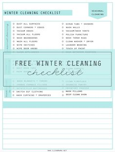 FREE printable winter cleaning checklist! Get a little extra deep cleaning in with these suggestions.