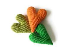 Crochet hearts (3 pieces) -Free shipping. $15.00, via Etsy.