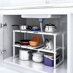 under sink caddy rack storage adjustable shelves cabinet organiser shelf unit storage solution. Black Bedroom Furniture Sets. Home Design Ideas