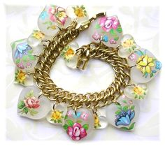 Floral Lucite Style Heart Charm Bracelet Vintage The Vintage Heart at Etsy and Ruby Lane