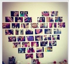 Pictures in a shape of a heart on the wall