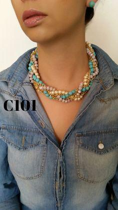 Collar con Aretes MX$395; sustitución de jade MX$325, + envío