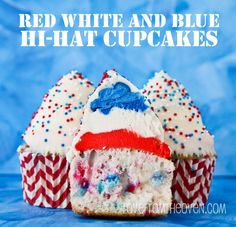 Red White And Blue Hi Hat Cupcakes